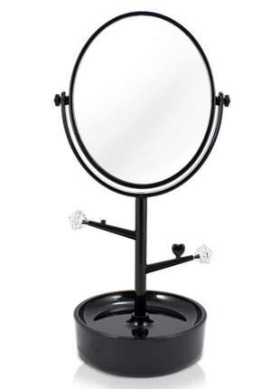 Espelho de mesa com compartimento para jóias/bijuterias preto