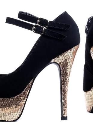 Sapatos femininos scapins meia pata brilho