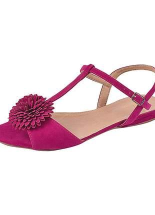 Sandália flat feminina camurça pink