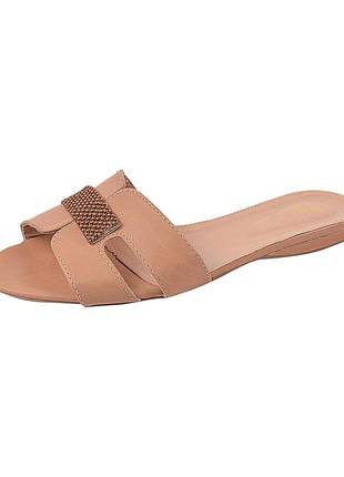 Sandália flat feminina sintético pele