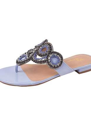 Sandália flat feminina verniz blue