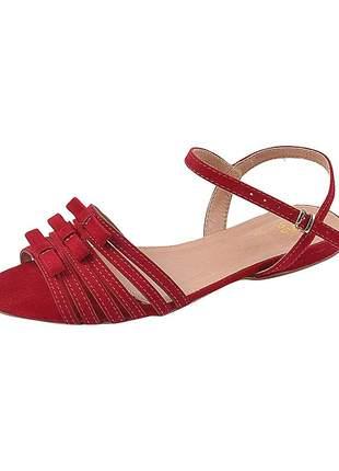 Sandália flat feminina camurça vermelho