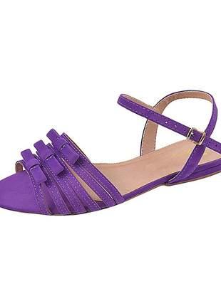 Sandália flat feminina camurça violeta