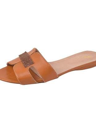 Sandália flat feminina sintético ferrugem