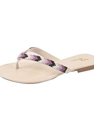 Sandália flat feminina verniz off white