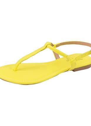 Sandália flat feminina neon lima