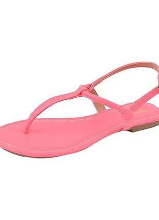 Sandália flat feminina neon rosa