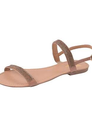 Sandália flat feminina verniz pele