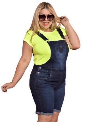 Jardineira jeans plus size escura