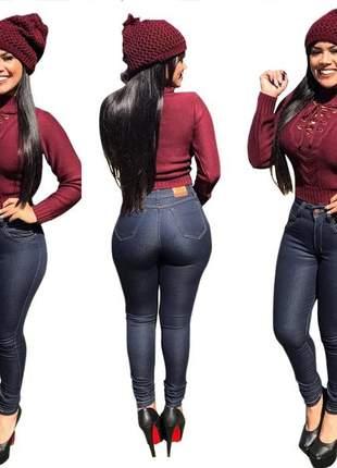 Calça jeans escura cintura alta com lycra frete grátis