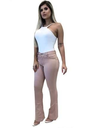 Calça jeans rosa envelhecido flare com nervura boca larga