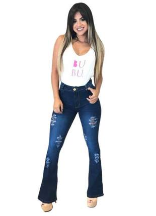 Calça jeans flare destroyed feminina com lycra