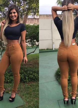 Calça jeans feminina caramelo cintura alta color