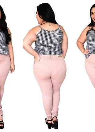 Calça jeans feminina plus size rosa