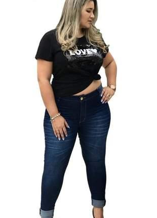 Calça jeans feminina plus size lazer com lycra
