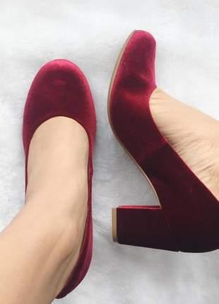 Sapato boneca via marte salto médio vinho veludo