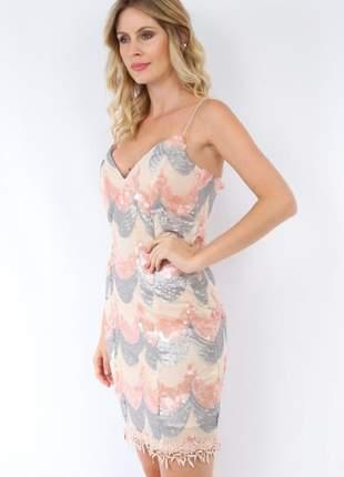 Vestido de festa paetê curto fcl17548 soellas boutique