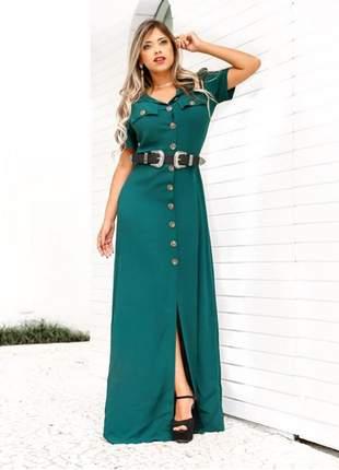 Vestido chamise verde