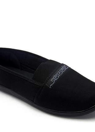 Sapatilha feminina rasteira confortavel preta moleca pano elástico peito pé