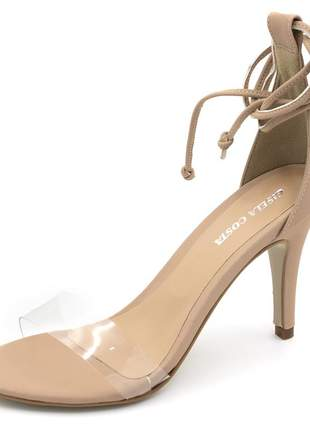 Sandália feminina social salto alto nude amarrar na perna