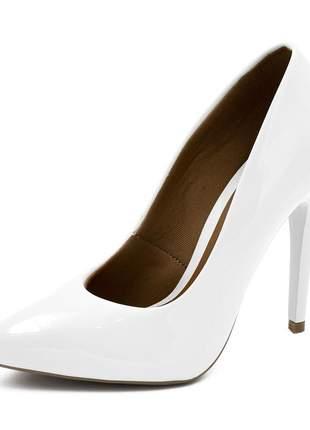 Sapato social feminino scarpins branco salto alto fino