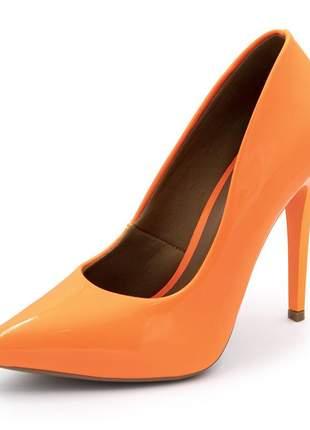 Sapato social feminino scarpins laranja neon salto alto fino