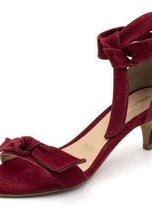 Sandália feminina salto baixo fino com laço nobucado vermelho