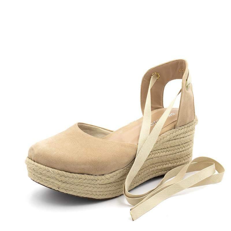 7b79a89d3d Sandalia espadrille amarrar na perna salto medio nude - R  119.90 ...
