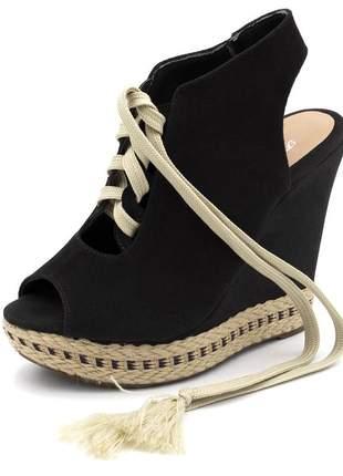 Sandália anabela cadarço camurçado preto