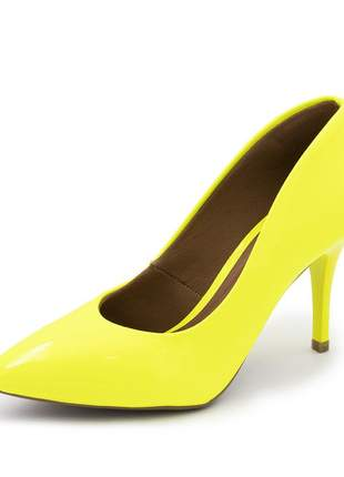 Sapato social feminino scarpin amarelo neon salto medio fino