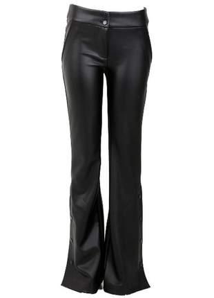 Calça de couro feminina preta