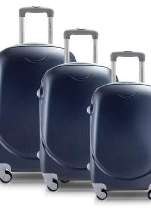 Conjunto mala de viagem abs com rodinha azul