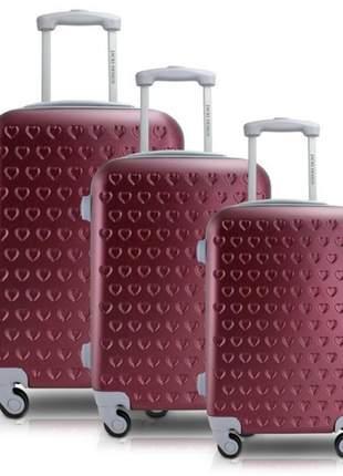 Conjunto mala de viagem abs com rodinha vermelha