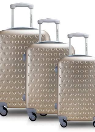 Conjunto mala de viagem abs com rodinha dourado