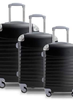 Conjunto mala de viagem abs com rodinha preta
