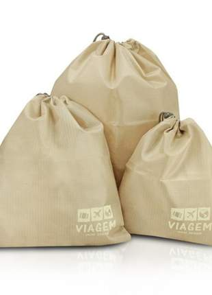 Kit organizador de malas bege com 3 peças