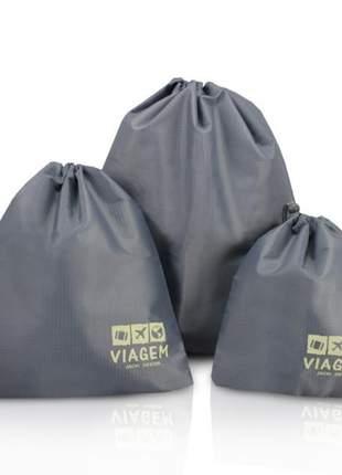 Kit organizador de malas cinza com 3 peças