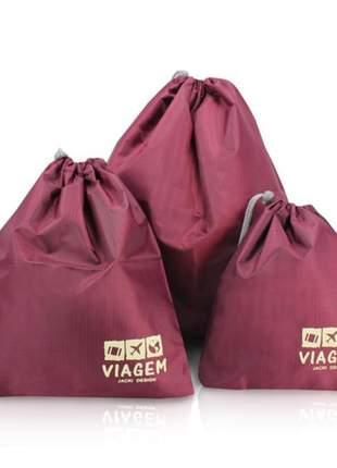 Kit organizador de malas vermelho com 3 peças