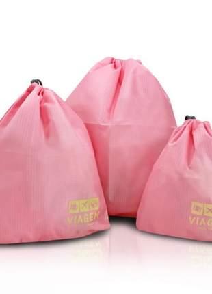 Kit organizador de malas rosa com 3 peças