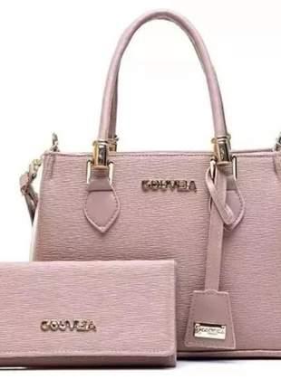 Bolsa feminka gc de luxo rosê media +carteira
