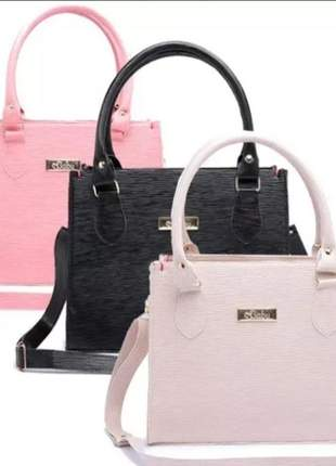 Bolsa feminina kit com 3 bolsas grandes com alça transversal