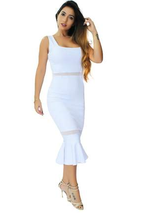 Vestido feminino midi peplum com tulê