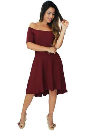 Vestido feminino midi ombro a ombro godê