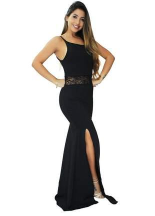 Vestido longo alcinha com renda na cintura e fenda