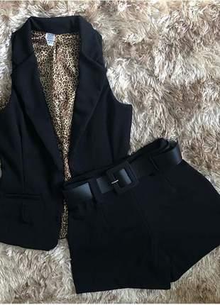 Conjunto colete, short , blusa e cinto de brinde