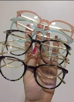 Óculos armação de grau redondo round metal unissex c/brinde