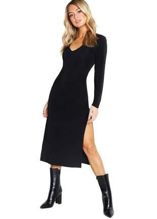 Vestido midi manga longa com fenda lateral