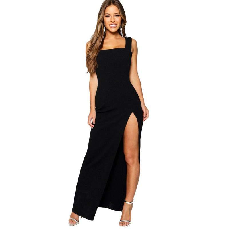 0221e8288 Vestido longo com fenda e alça larga - R$ 99.99 (com estampa de ...