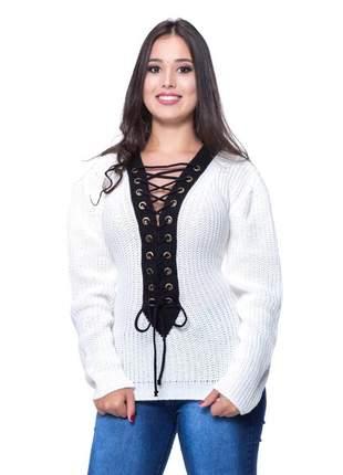 Blusa tricô decote trançado com ilhós manga longa bege