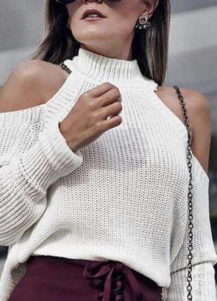 Blusa tricô recorte ombro gola alta branca